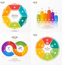 set of infographic templates with 6 options vector image