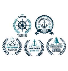Set of nautical heraldic icons for yachting vector