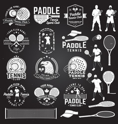 Set of paddle tennis badge emblem or sign vector