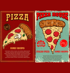set poster template with pizza design element vector image