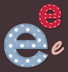 Set stitched font - letter e vector
