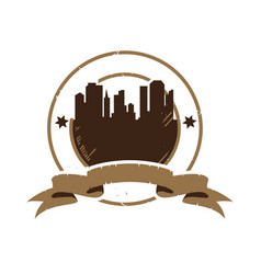 silhouette city for retro vintage badge emblem vector image