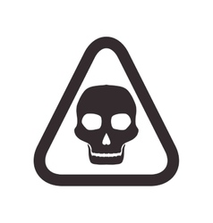 skull road sign triangle warning icon vector image