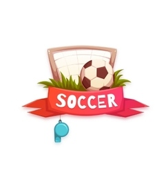 Soccer banner with football ball and goal vector