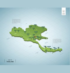 stylized map thailand isometric 3d green map vector image