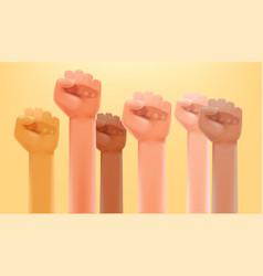 supprt concept different race men fists up vector image