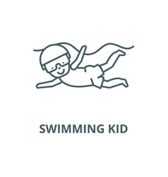 swimming kid line icon linear concept vector image