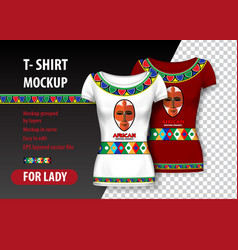 T-shirt mockup with african patterns and mask in vector