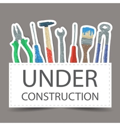 Tools drawing - under construction vector image