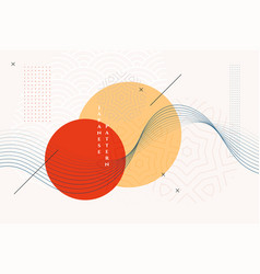 Traditional japanese background with wavy lines vector