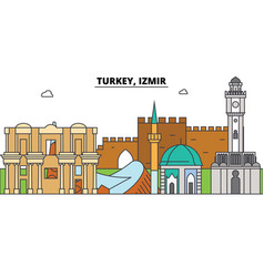 turkey izmir outline skyline turkish flat thin vector image