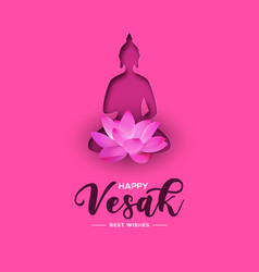 vesak day card pink papercut buddha and lotus vector image