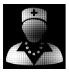 white halftone nurse icon vector image
