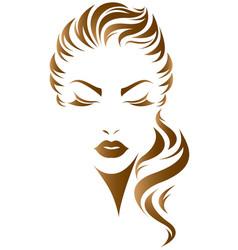 Women long hair style icon logo women face vector