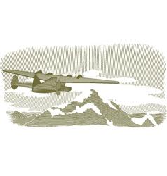 Woodcut clipper scene vignette vector