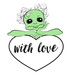 Alien with a heart vector image vector image