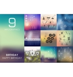 birthday infographic with unfocused background vector image