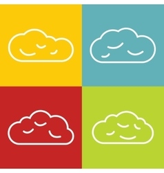 Cloud line icons on color background vector image vector image
