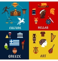 Culture art and history icons of Greece vector image vector image