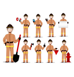 firefighter in professional uniform vector image