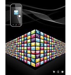 Global mobile phone apps icons wall vector image vector image