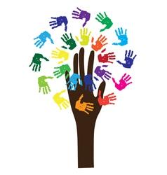 hand tree vector image vector image