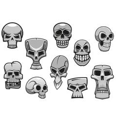 Cartoon human scary Halloween skulls vector image vector image