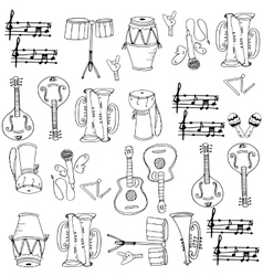Musical instrument pack doodles vector image