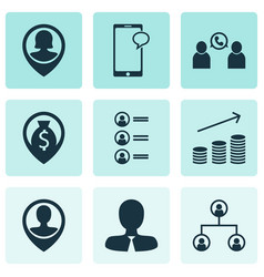 Set of 9 hr icons includes coins growth employee vector
