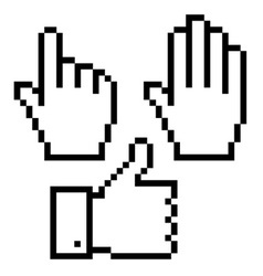 Set of pixelated hand icons vector image