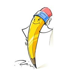 smiling cartoon lead pencil vector image