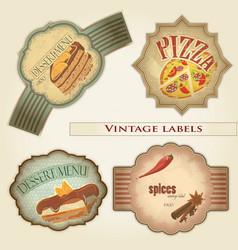 vintage food labels set - vector image