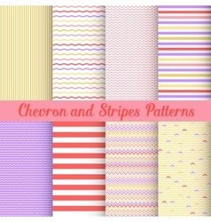 Chevron and Stripes patterns set vector image vector image