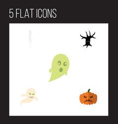 flat icon festival set of phantom ghost pumpkin vector image vector image