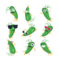 Funny cucumber - isolated cartoon emoticons vector