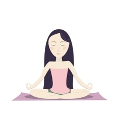 Girl sitting in the lotus pose and meditating vector image vector image