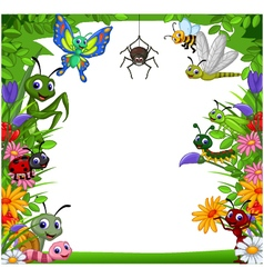 cute collection of insects in the flower garden vector image