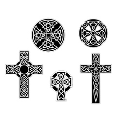 Set of vintage celtic crosses vector image vector image