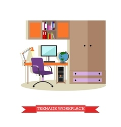Teenager bedroom interior objects in flat style vector