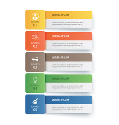 5 data infographics tab paper index template vector image