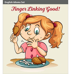 A girl eating vector