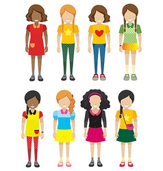 A group of faceless but smiling kids vector image