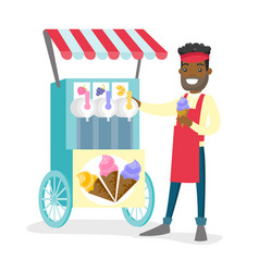 African-american street seller selling ice cream vector