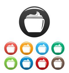 Aloe body cream icons set color vector