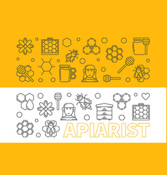 Apiarist horizontal banners set in thin vector