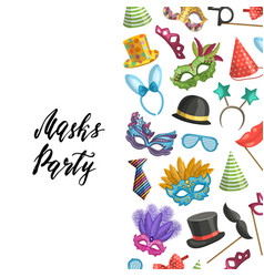 background masks and party accessories vector image