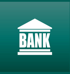 bank building icon in flat style on green vector image