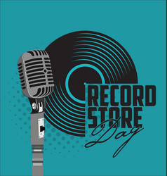 black vinyl record store day flat concept vector image