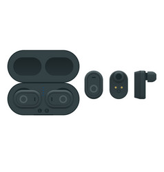 black wireless earphones and case isolated on a vector image