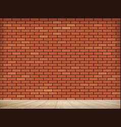 Blank red brick wall indoors with wooden floor vector